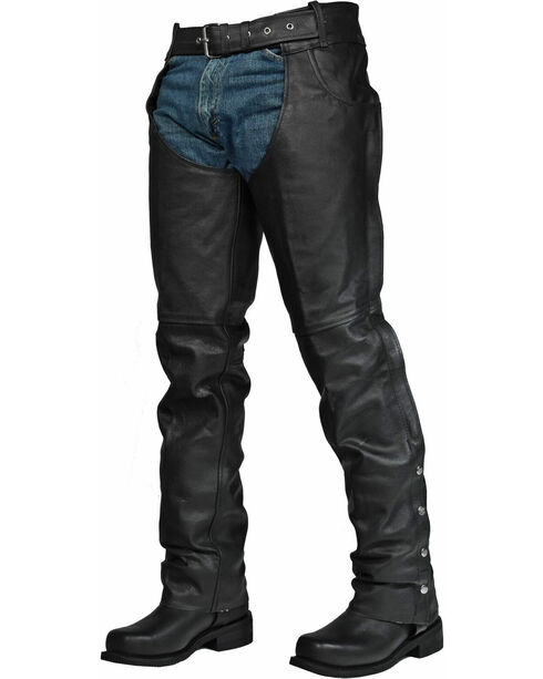 Interstate Leather Men's Rock Riding Chaps, Black, hi-res