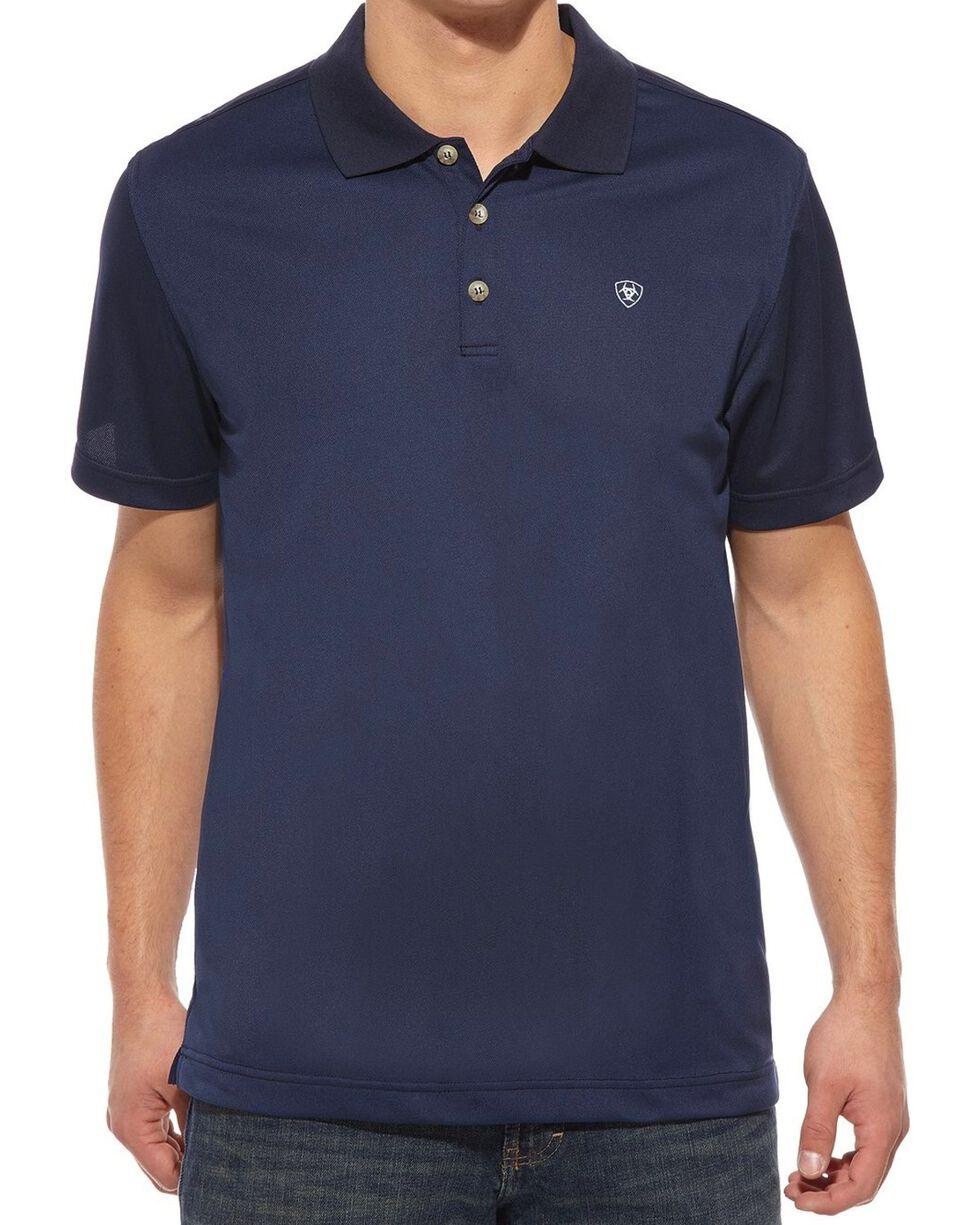 Ariat Men's Tek Short Sleeve Polo, Navy, hi-res