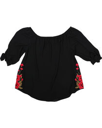 Moa Moa Women's Plus Size Embroidered Off The Shoulder Top, , hi-res