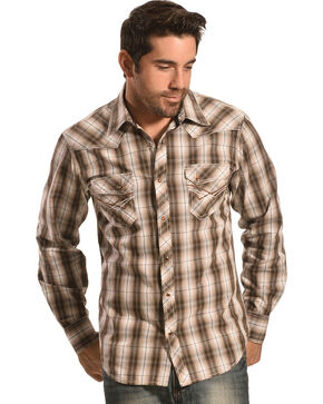 Ely Men's 1878 Brown Plaid Western Shirt , Brown, hi-res