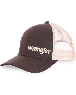 Wrangler Men's Dark Plaid Logo Ball Cap, Brown, hi-res