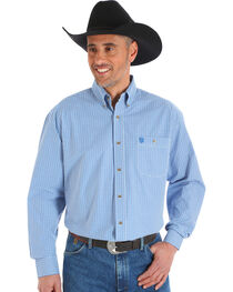 Wrangler George Strait Men's Blue Poplin Plaid Button Shirt - Big & Tall, , hi-res