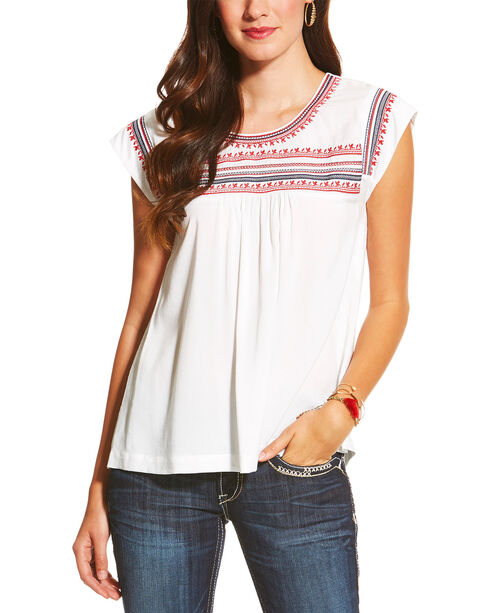 Ariat Women's Brandy Short Sleeve Top, White, hi-res