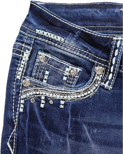 Grace In LA Girls' Embroidered Rhinestone Boot Cut Jeans, Blue, hi-res