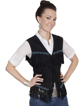 Scully Western Suede Fringe Vest, Black, hi-res