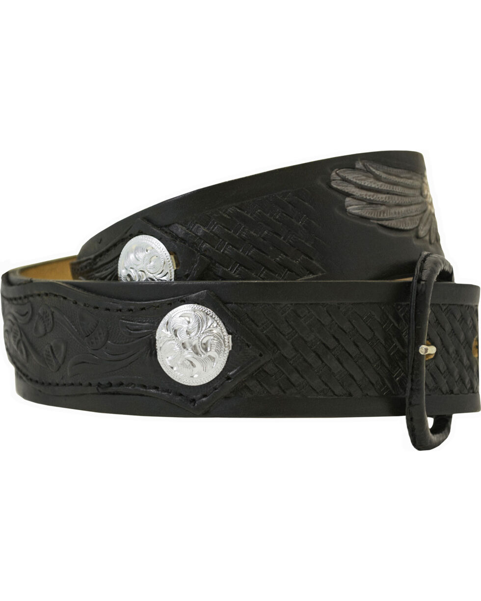 Western Express Men's Leather Eagle Belt , Black, hi-res