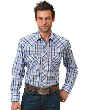 Roper Men's Blue & White Plaid Long Sleeve Western Snap Shirt, Blue, hi-res
