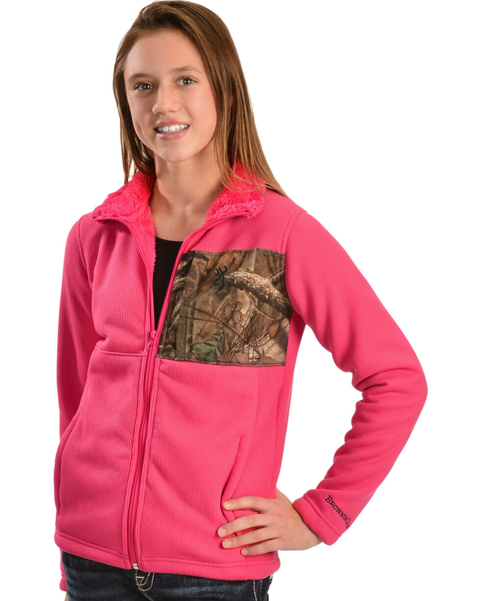 Browning Youth Pink and Camo Jacket, , hi-res