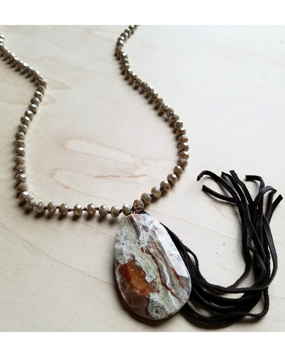 Jewelry Junkie Women's Desert Sand Faceted Ocean Agate Necklace , Sand, hi-res
