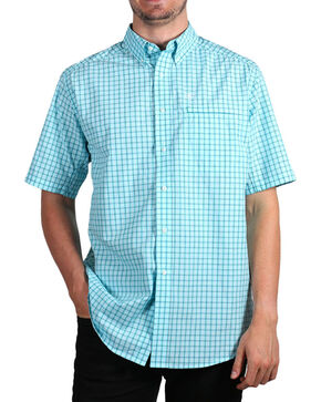 Ariat Men's Plaid Ventilated Short Sleeve Shirt , Aqua, hi-res