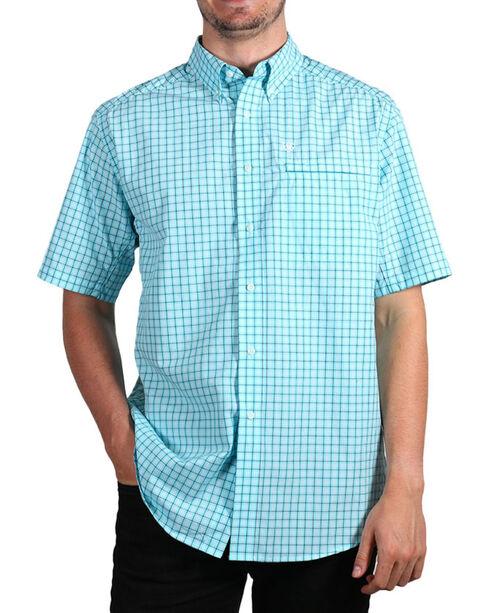 Ariat Men's Plaid Ventilated Short Sleeve Shirt , Aqua, hi-res