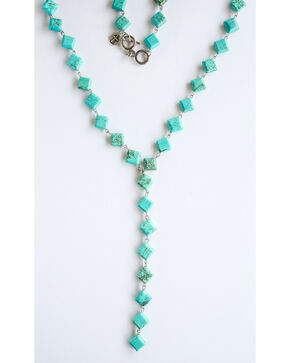 West & Co. Women's Turquoise Diamond V Necklace, Turquoise, hi-res