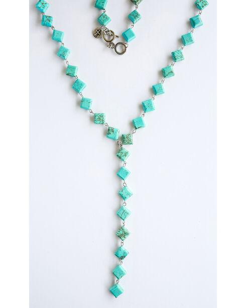 West & Co. Women's Turquoise Diamond V Necklace, Turquoise, hi-res