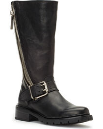 Frye Women's Black Samantha Zip Tall Boots - Round Toe , , hi-res