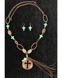 Blazin Roxx Women's Leather Turquoise Cross Jewelry Set , , hi-res