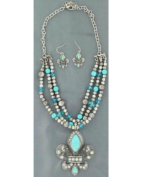 Blazin Roxx Triple Strand Beaded Fleur-De-Lis Necklace & Earrings Set, Turquoise, hi-res