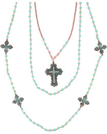 Shyanne® Women's Turquoise Beaded Cross Necklace, , hi-res