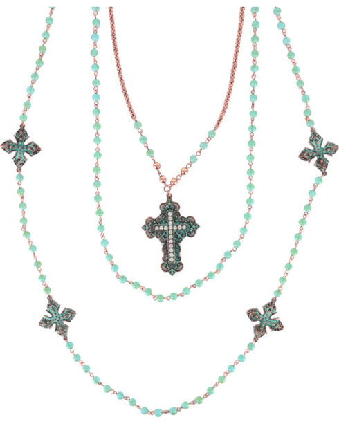 Shyanne® Women's Turquoise Beaded Cross Necklace, Turquoise, hi-res