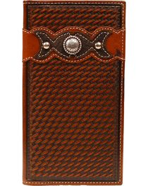 Ariat Fancy Overlay & Concho Basketweave Rodeo Wallet, , hi-res