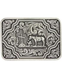 Montana Silversmiths Men's Silver and Black Christian Cowboy Belt Buckle , , hi-res