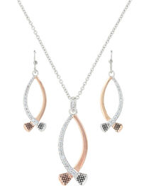 Montana Silversmiths Women's Silver Crossing Paths Horseshoe Nail Jewelry Set , , hi-res