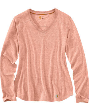 Carhartt Women's Force Performance V-Neck T-Shirt , Peach, hi-res