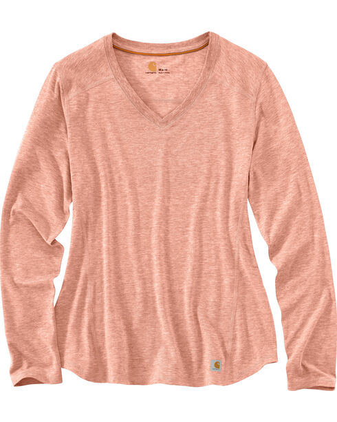 Carhartt Women's Force Performance V-Neck T-Shirt , Peach, hi-res