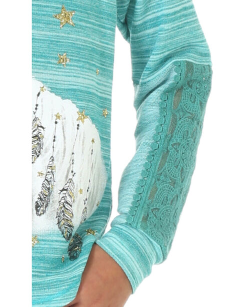 Wrangler Girls' Long Sleeve French Terry Horse Print Top, Turquoise, hi-res