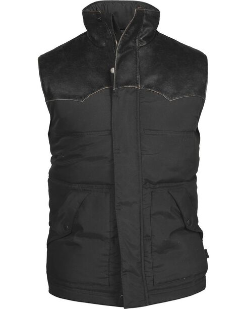 STS Ranchwear Men's Lucas Down Style Black Vest - Big & Tall - 4XL, Black, hi-res