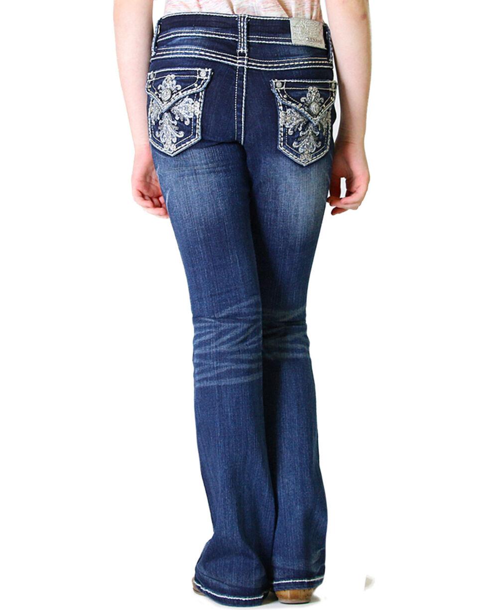 Grace in LA Girls' Dark Wash Fancy Flap Pocket Bootcut Jeans (4-6X), Indigo, hi-res