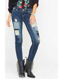 Grace in LA Women's Skinny Patchwork Jeans , , hi-res