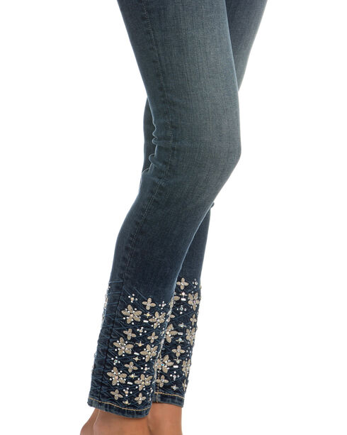 Miss Me Women's Indigo Floral Embroidered Jeans - Ankle Skinny , Indigo, hi-res