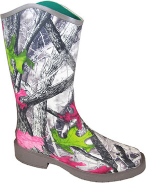 Smoky Mountain Women's Oconee Rain Boots - Square Toe , Camouflage, hi-res