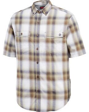 Wolverine Men's Plaid Printed Double Pocket Short Sleeve Shirt, Grey, hi-res