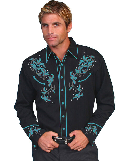 Scully Men's Turquoise Embroidered Shirt, Black, hi-res