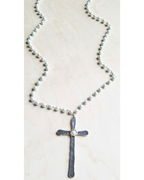 Jewelry Junkie Women's Pearl Necklace with Large Silver Cross Pendant , , hi-res