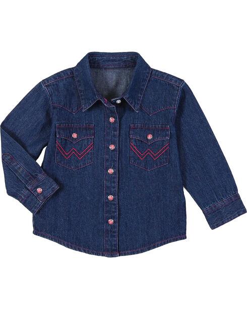 Wrangler Toddler Girls' Long Sleeve Denim Western Shirt, Blue, hi-res
