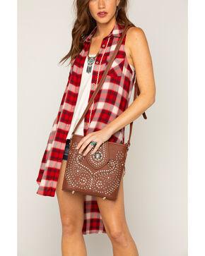 Shyanne Women's Rhinestone Swirl Crossbody Bag, Brown, hi-res