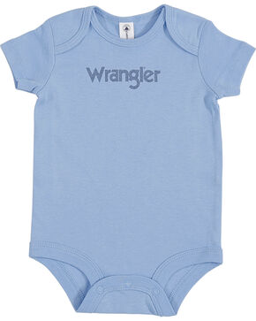 Wrangler Infant Boys' Logo Onesie, Blue, hi-res