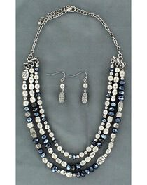 Blazin Roxx Fancy Navy Blue & Silver-tone Beaded Necklace Set, , hi-res