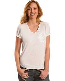Derek Heart Women's Extended Cap Sleeve Hi Low Shirt - White, , hi-res