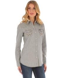 Wrangler Women's Long Sleeve Grey Demin Shirt, , hi-res