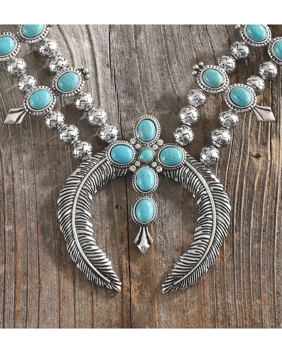 Shyanne® Women's Squash Blossom Cross Necklace, Silver, hi-res