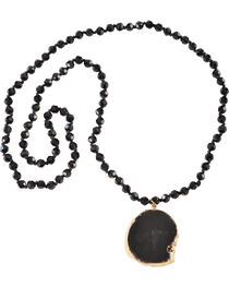 Jewelry Junkie Black Faceted Glass Beaded Necklace with Black Agate Slab, , hi-res