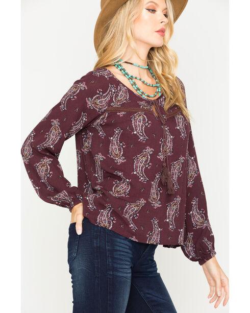 Sage the Label Women's Purple Printed Tassel Top , Purple, hi-res