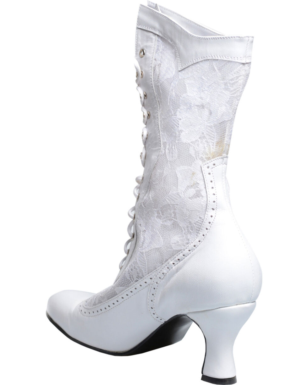 Oak Tree Farms Women's Jennie Kidskin & Lace Gold Rush Boots, White, hi-res