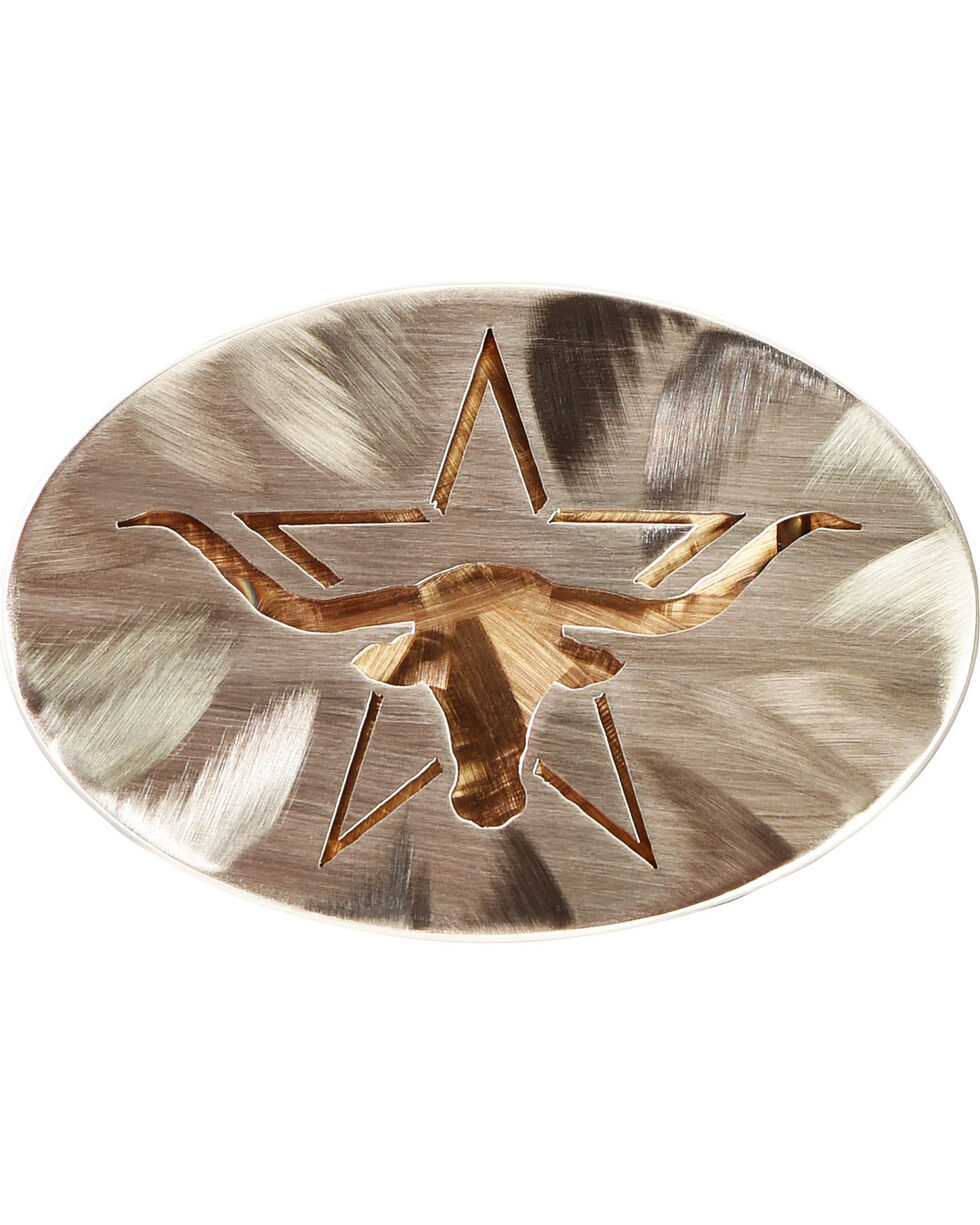 American Heritage Stainless Buckles Longhorn Steer with Star Belt Buckle, Silver, hi-res