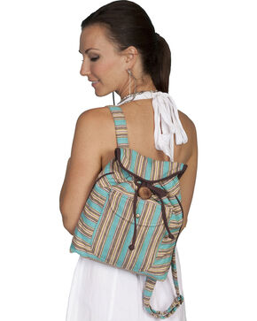 Scully Striped Backpack, Turquoise, hi-res