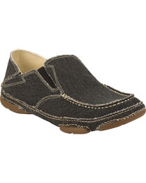 Tony Lama Men's Coal Black 3R Casuals Canvas Shoes - Moc Toe , , hi-res