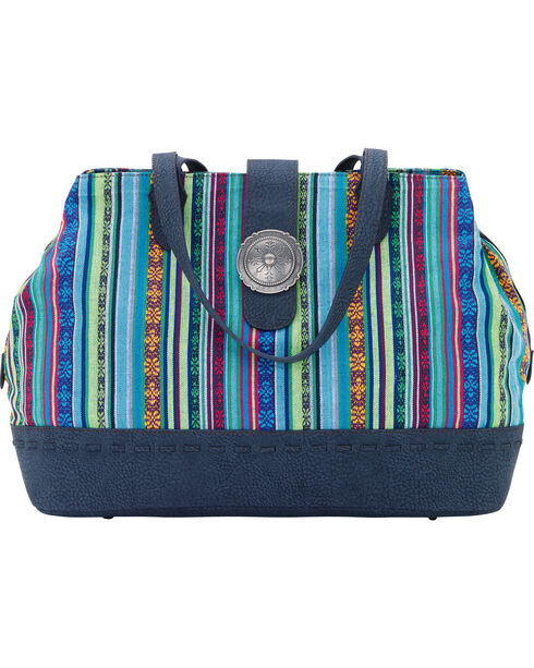Bandana by American West Women's Buena Vista Multi Compartment Large Tote, Blue, hi-res